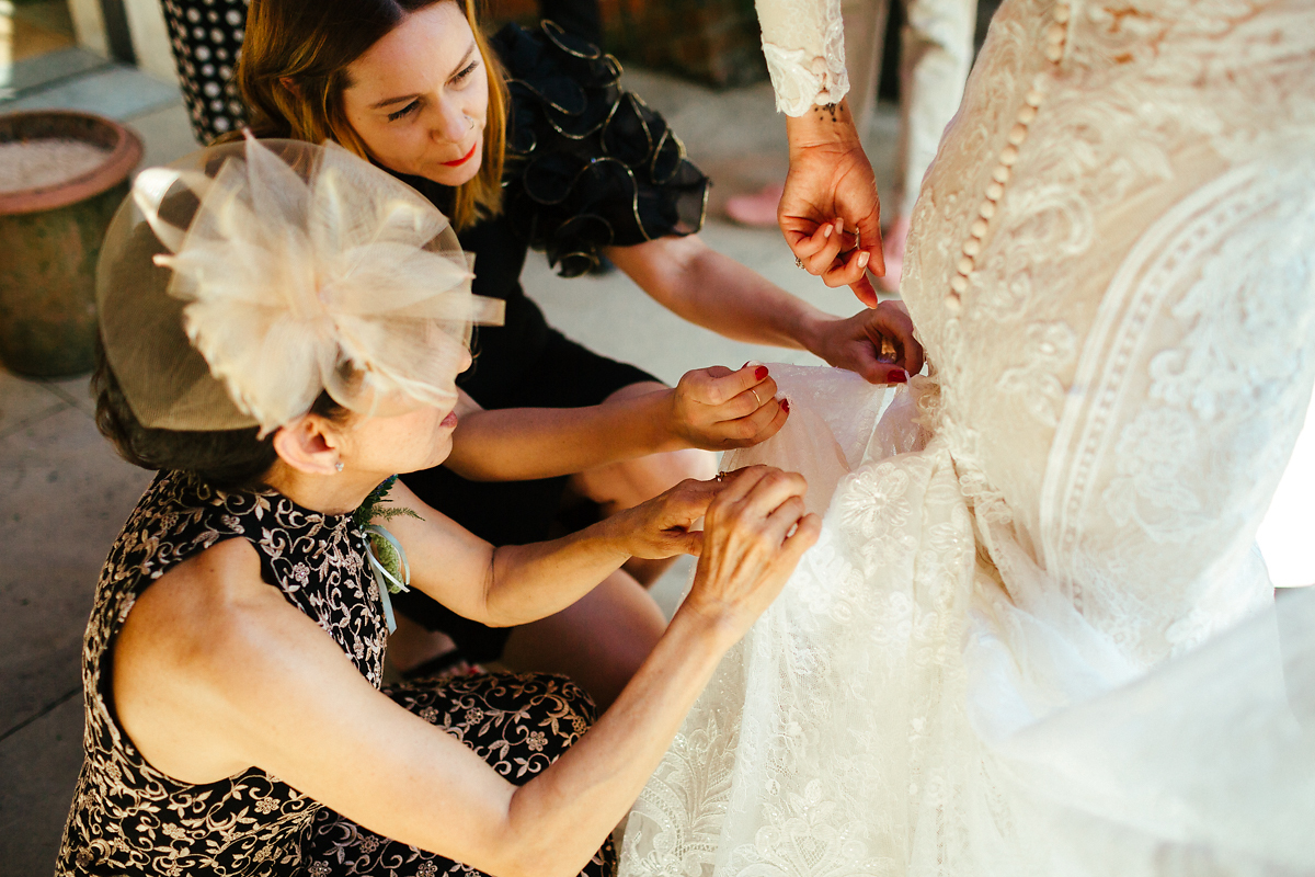 Helping hands for wedding dress