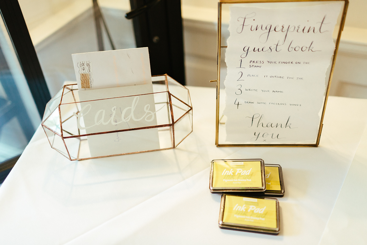 Golden see-through wedding card collection box