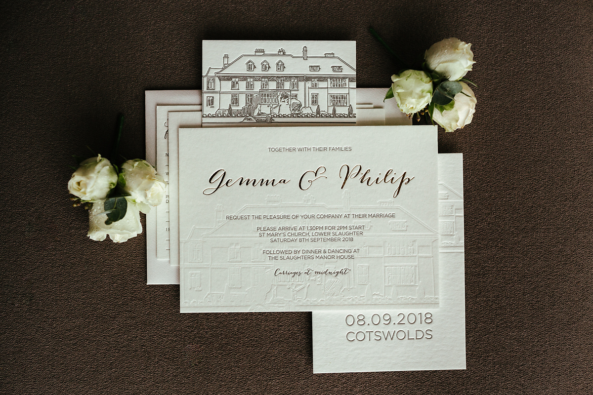 White gold wedding invitations