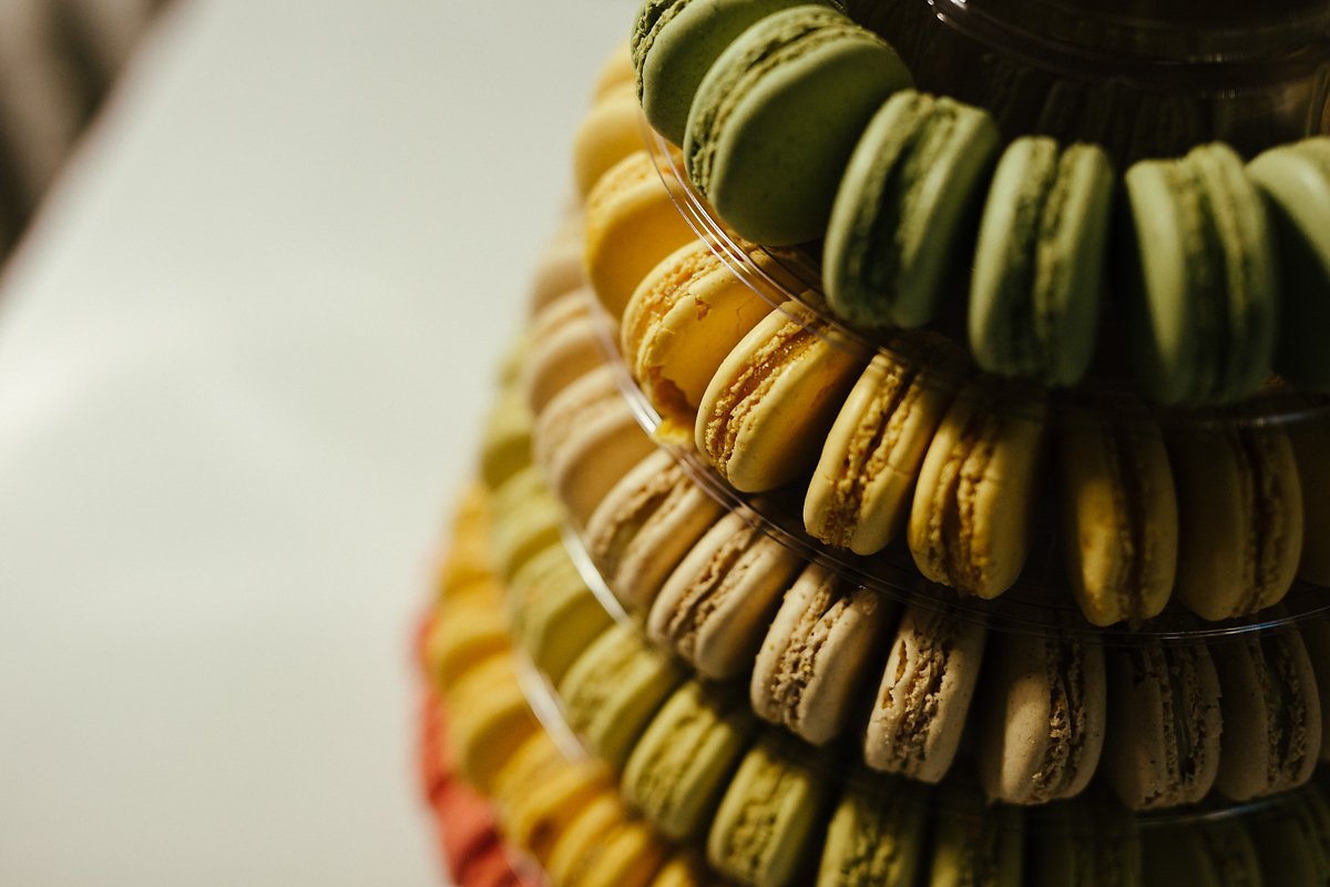 Macaroon wedding cake in the Cotswolds