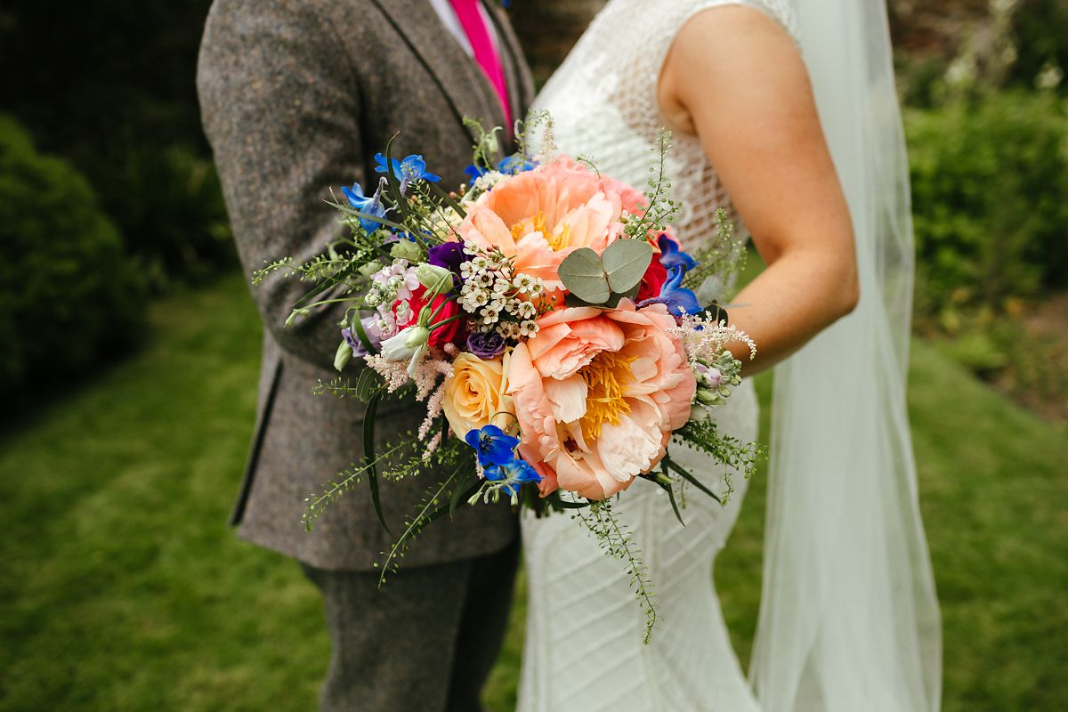 Fresh peonies wedding bouquet