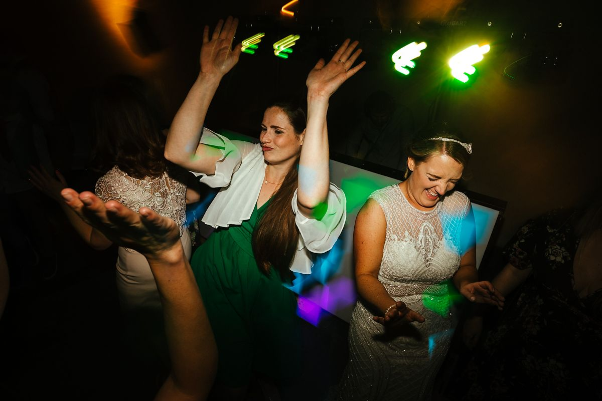 Fun wedding party dance photos