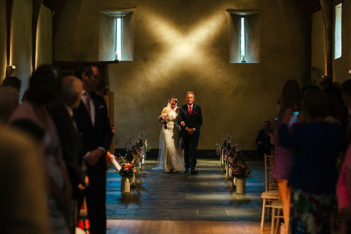 Indoor wedding ceremony in the Great Barn