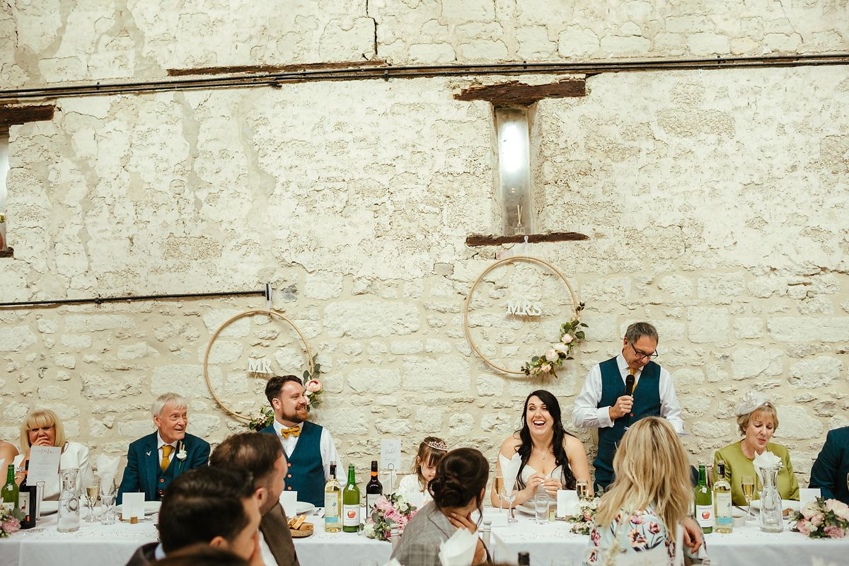 Wedding speeches in the barn