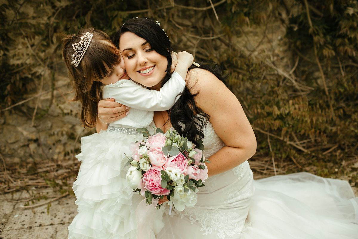 Bride and her daughter on a wedding day