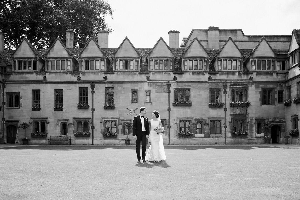 Oxford Brasenose College quad wedding photos