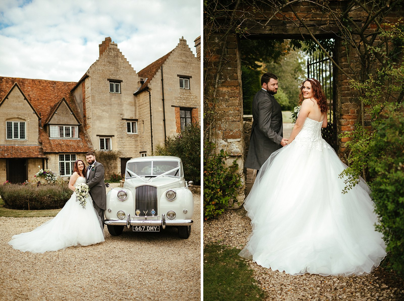 Bride and groom in front of the Manor House photo