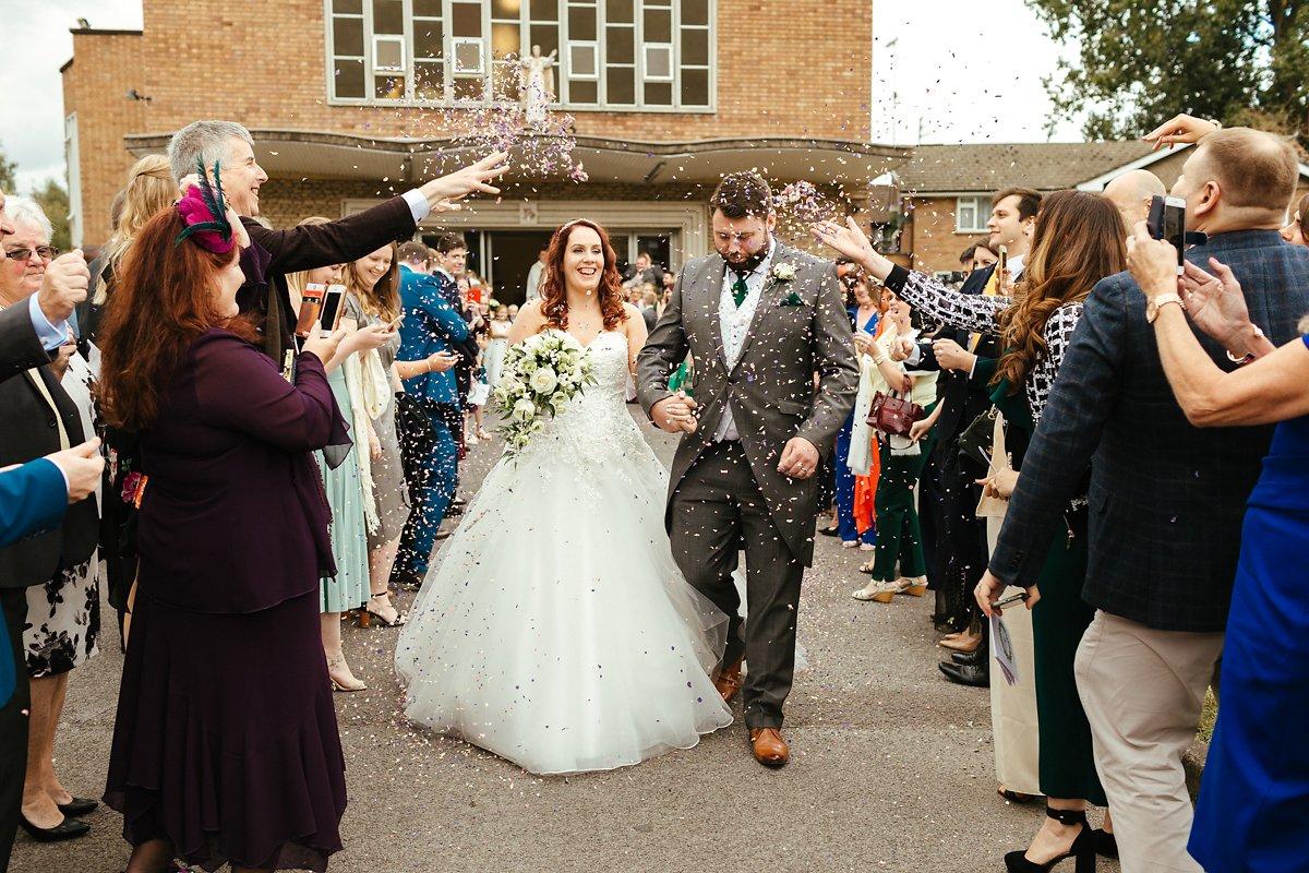 Confetti after catholic wedding ceremony