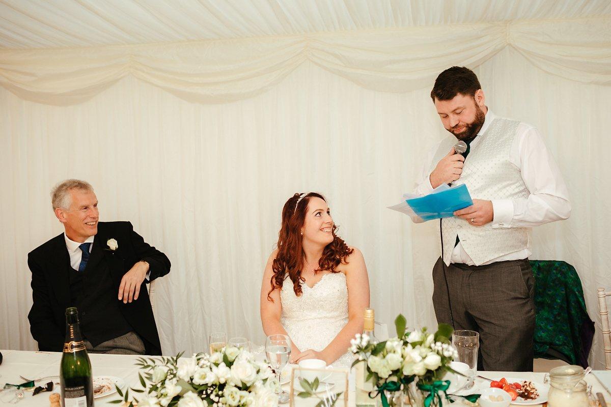 Wedding speech photography at Creslow Manor
