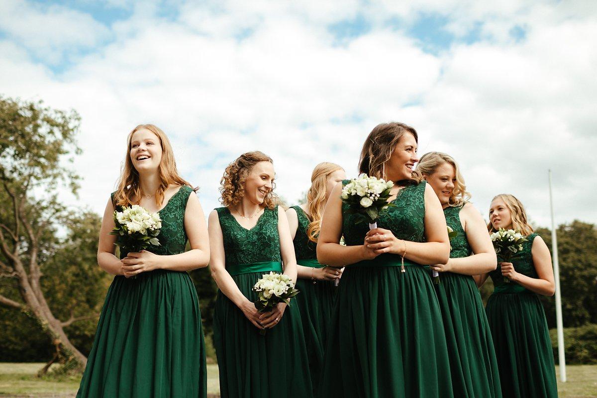 Full length green bridesmaids dresses