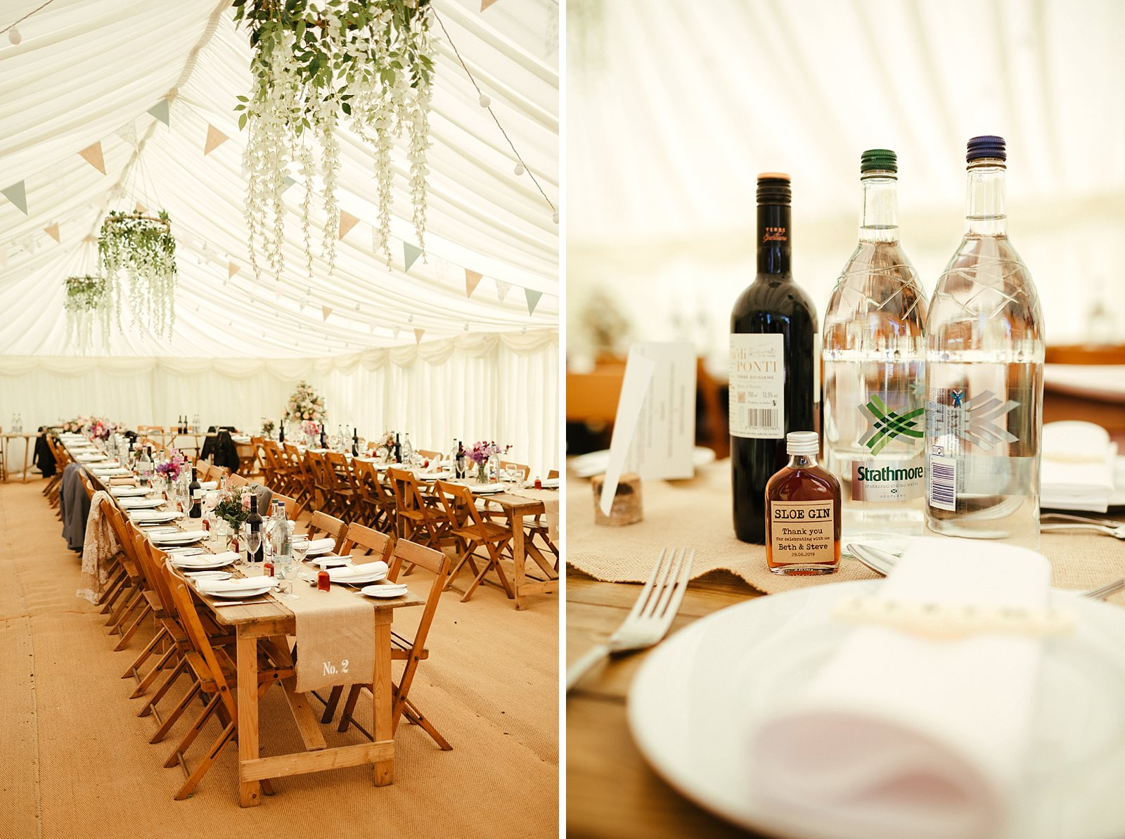 Rustic marquee wedding decorations