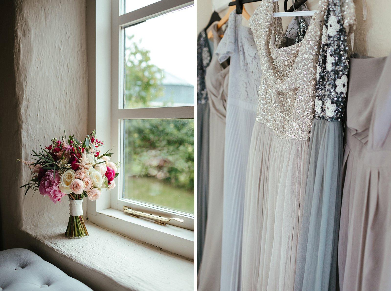 Full length grey bridesmaids dresses
