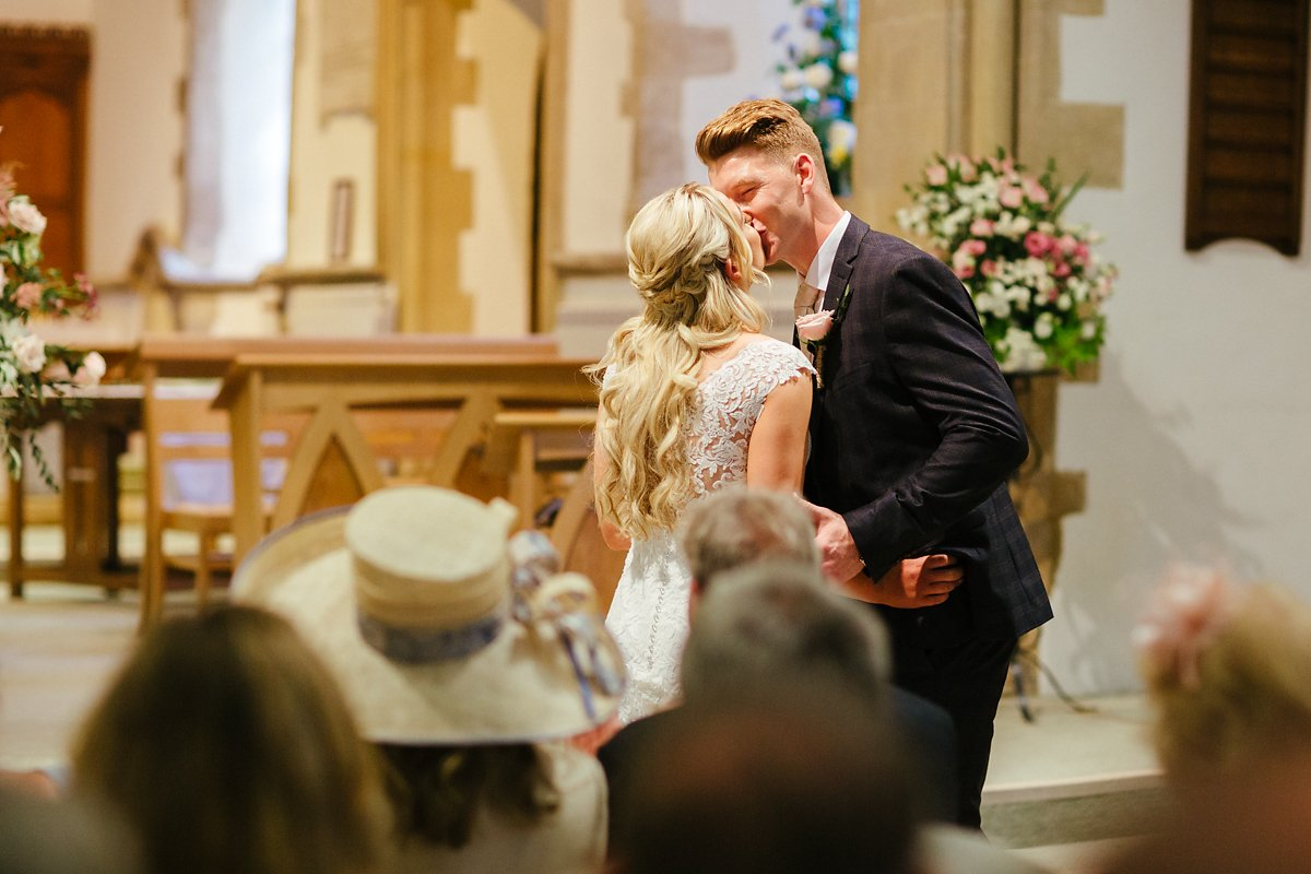 First kiss at church ceremony