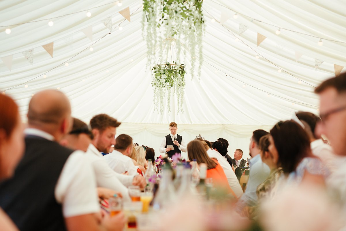 Grooms Wedding speeches at Meadowbrook Farm marquee