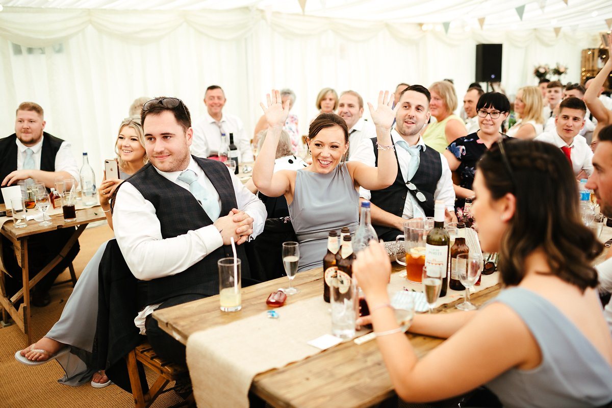 Wedding speeches at Meadowbrook Farm marquee