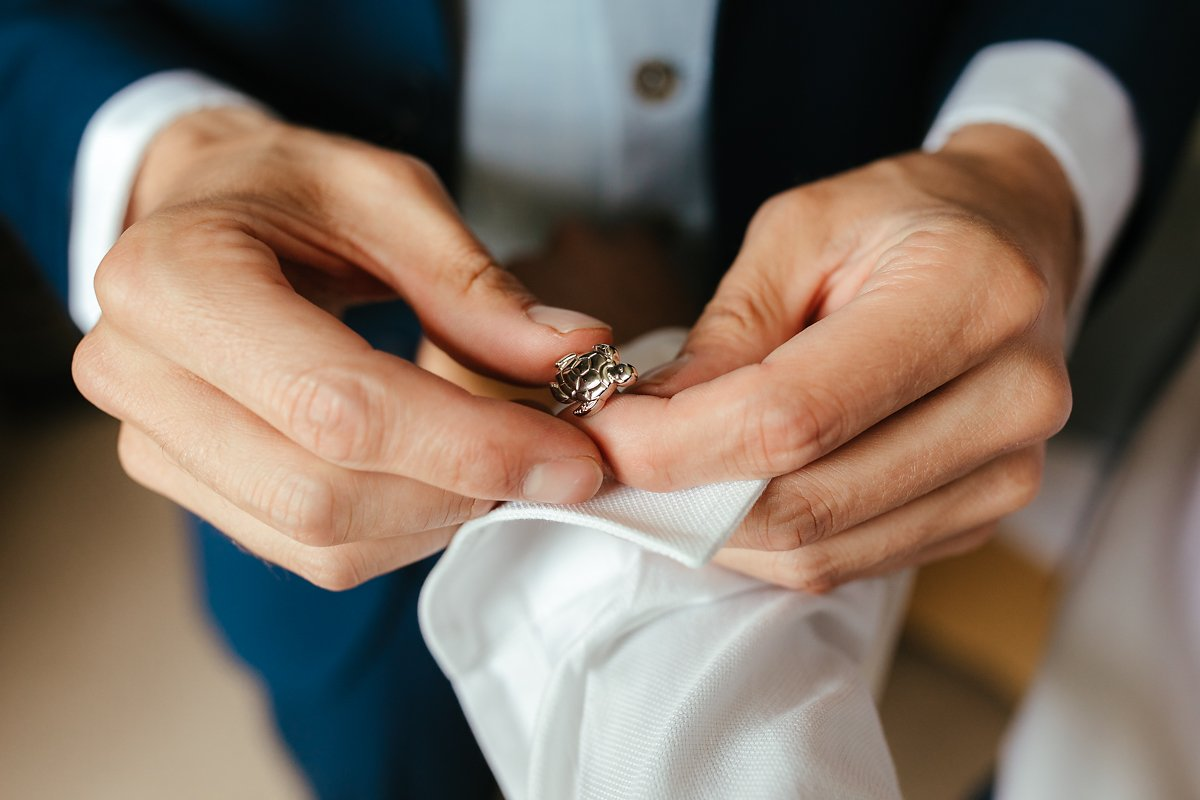 Turtle cufflink for the groom