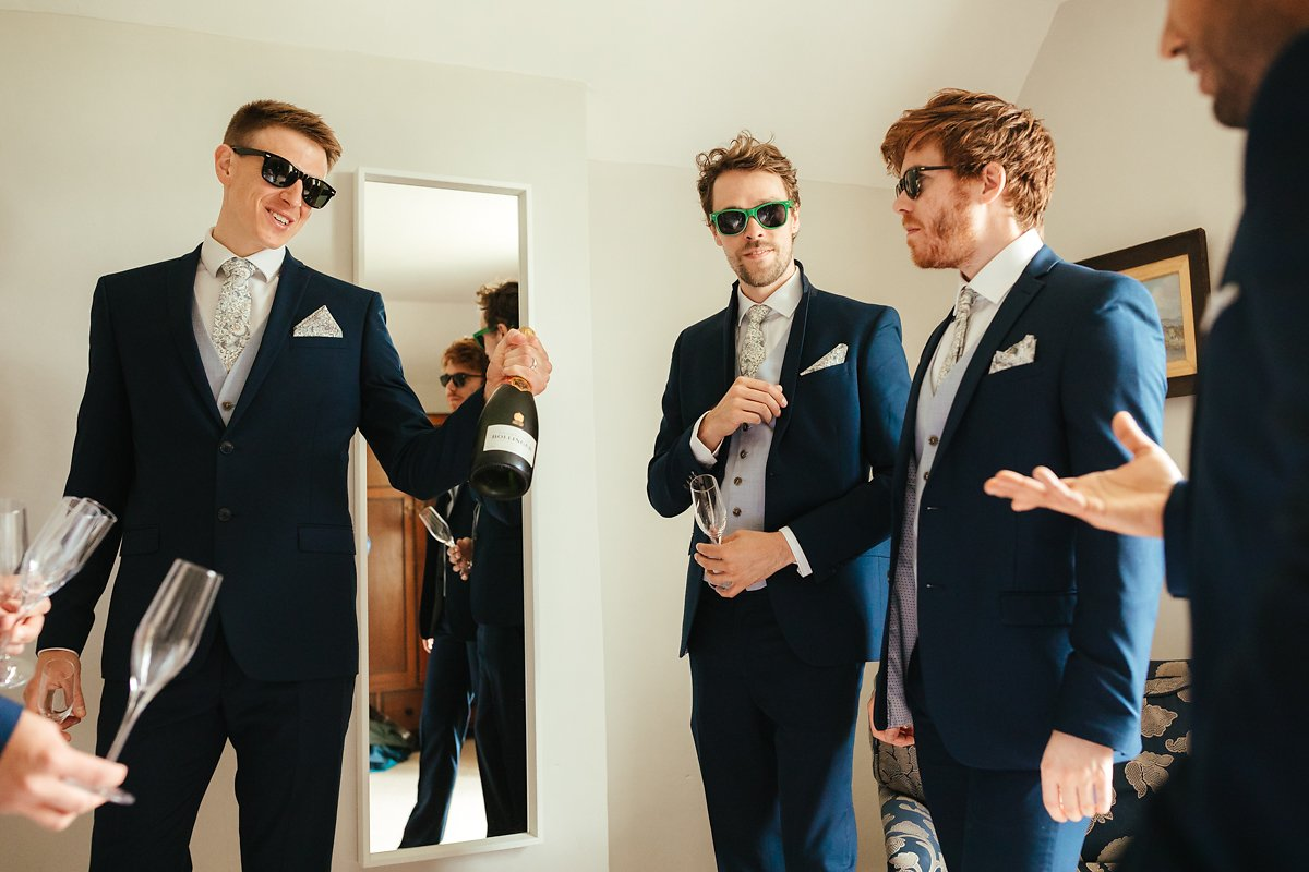 Groomsmen getting ready at the Old House in Merriscourt