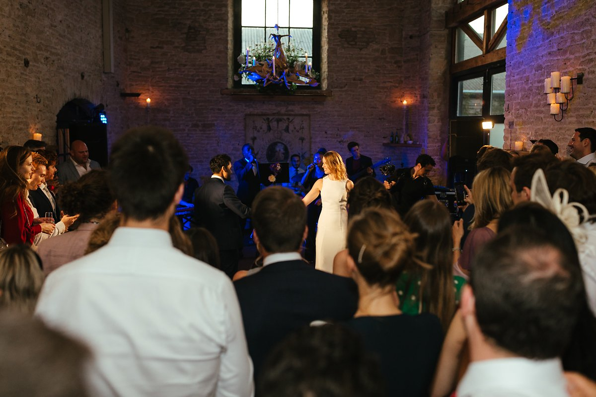 Bride and groom first dance at Merriscourt stone barn