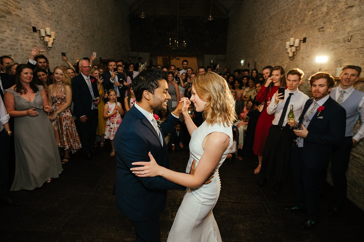 Bride and groom first dance at Merriscourt barn