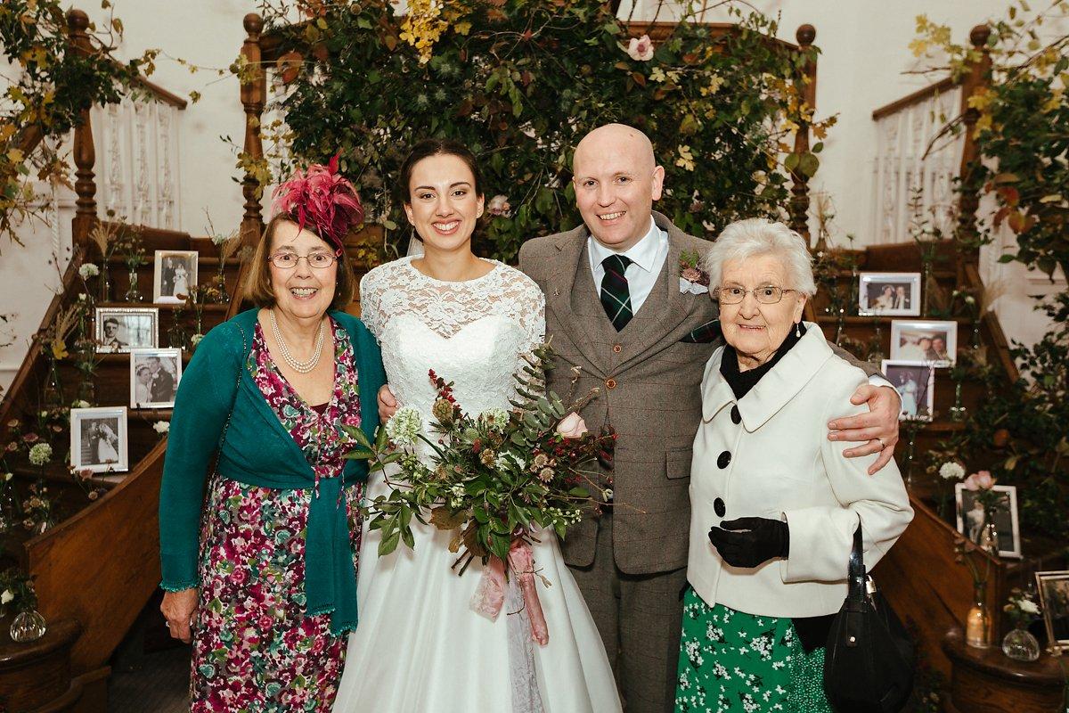 Family group photos during autumn wedding