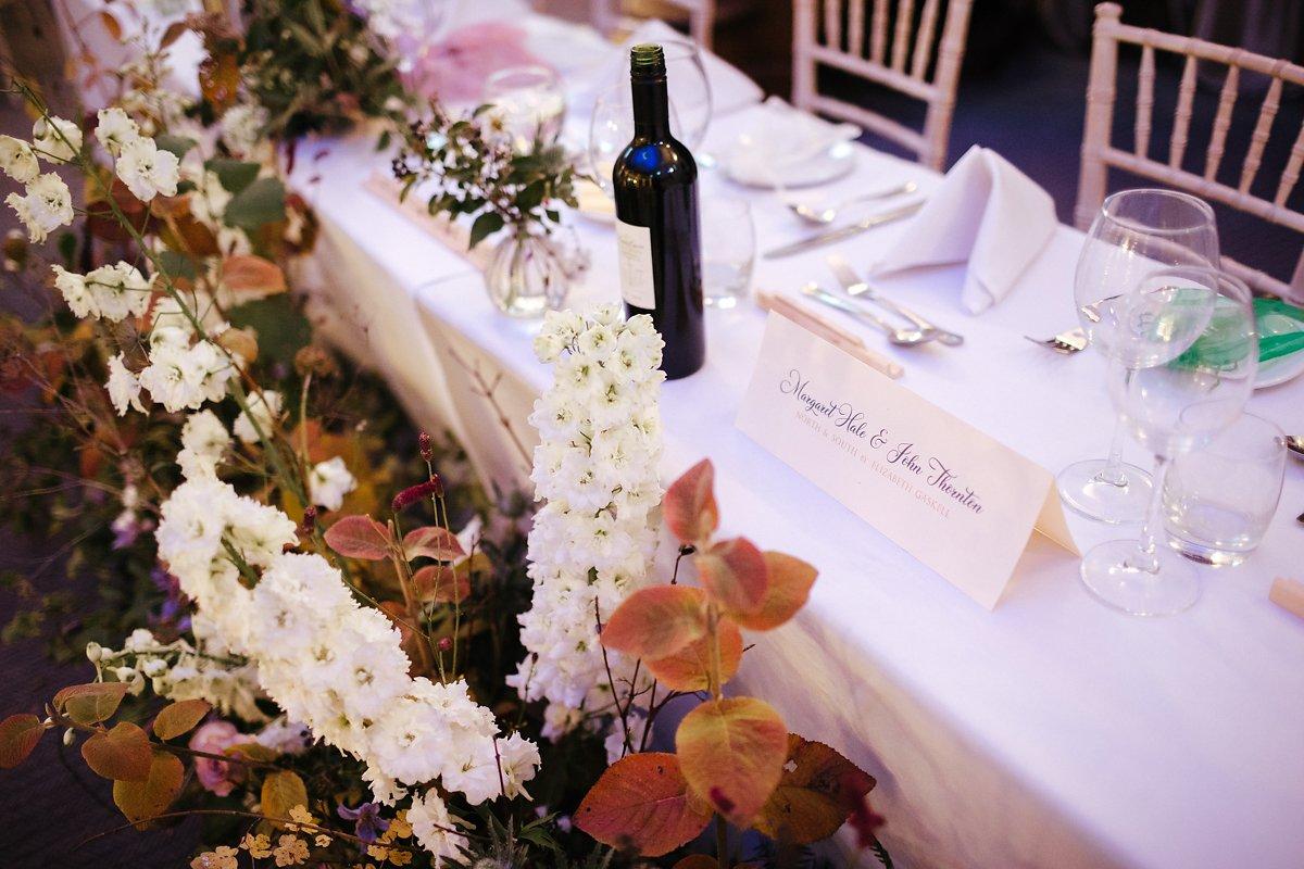 Autumn wedding table decorations