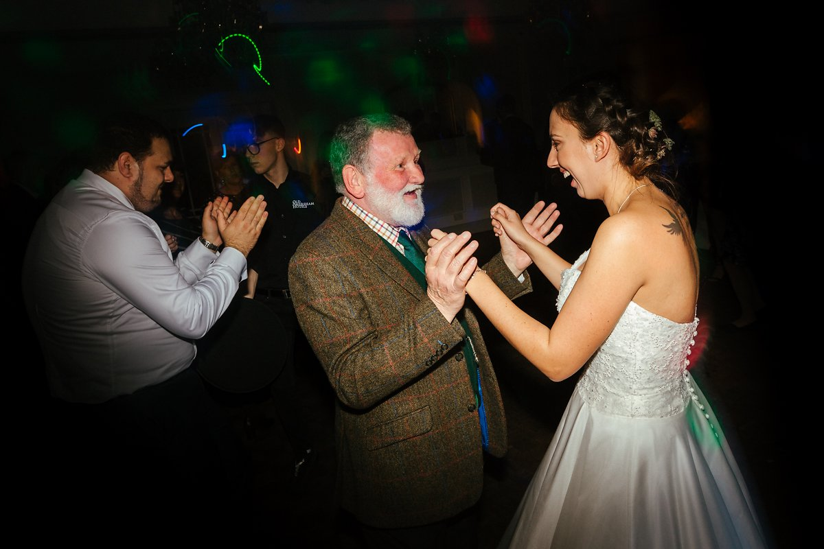Dancing with the farther in law at a wedding