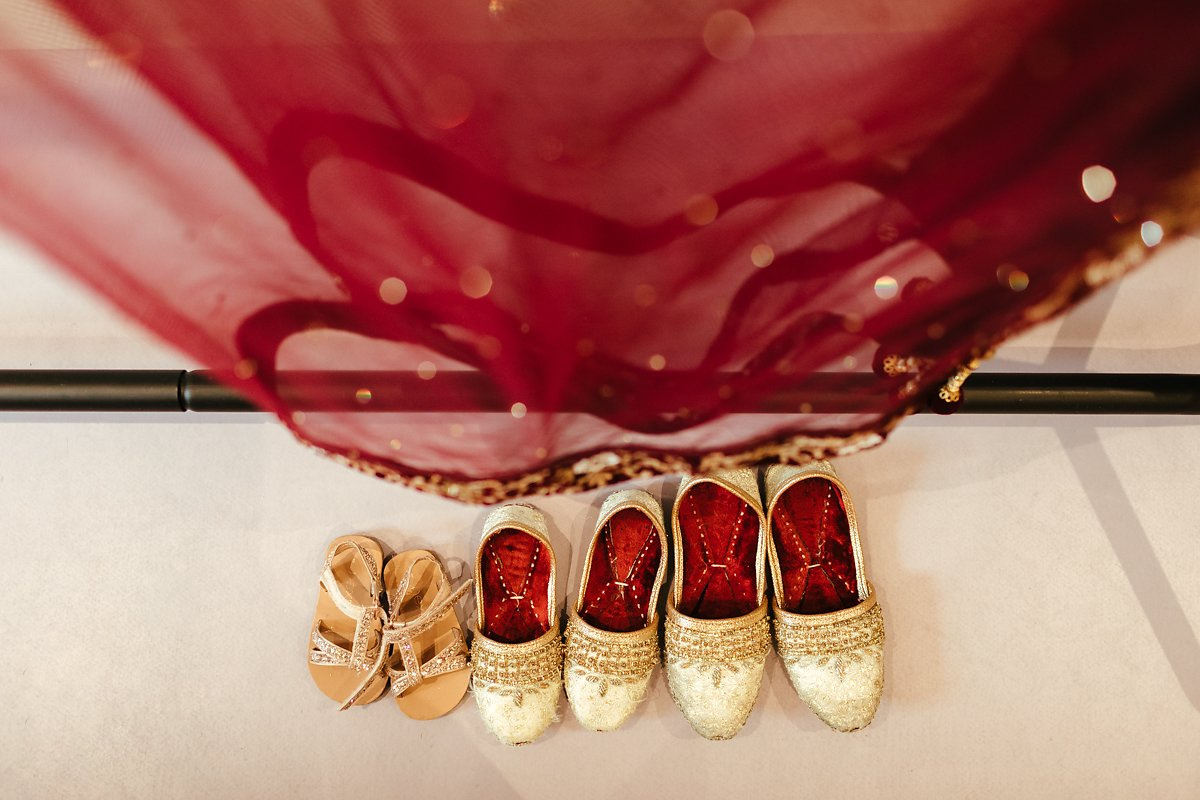 Golden and red Indian wedding attire