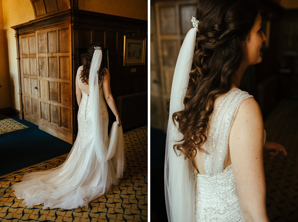 Elegant back of the wedding dress