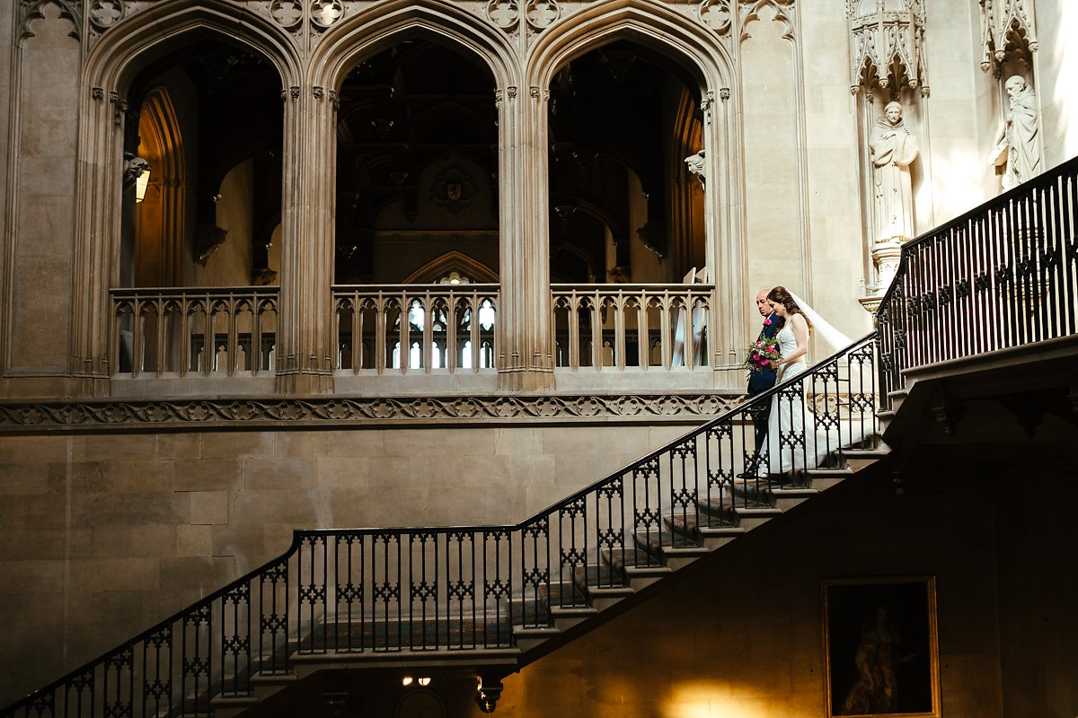 Arrival of bride through Ashridge grand stairs