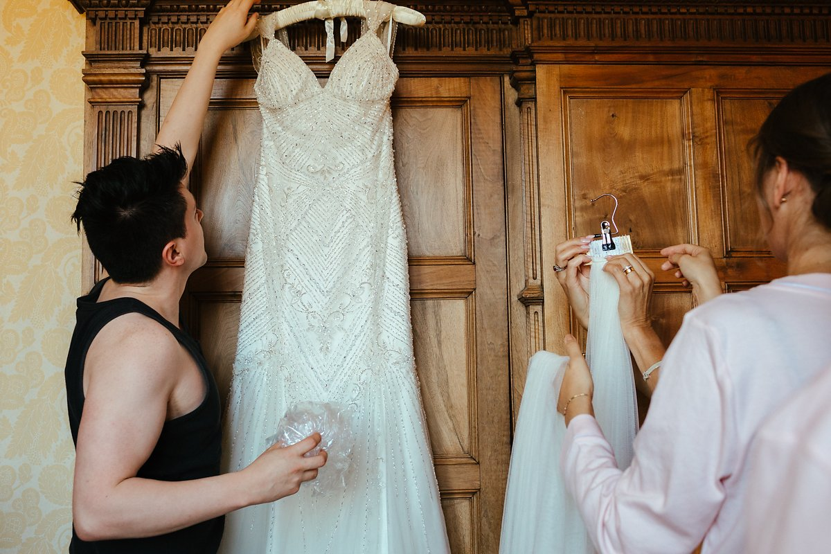 Bridal full length white dress in Ashridge