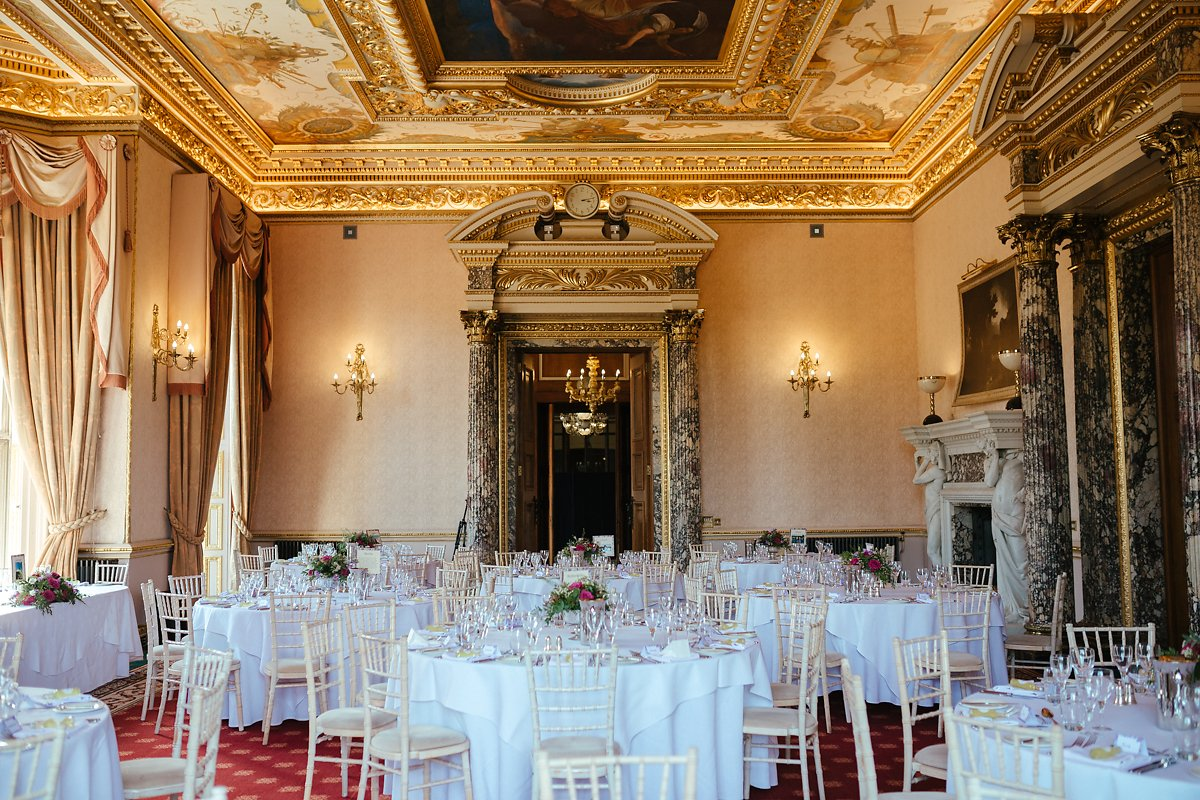 Elegant wedding table decoration in Ashridge House