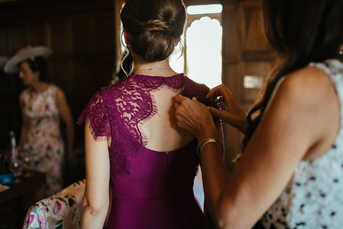Bridesmaids dress in purple