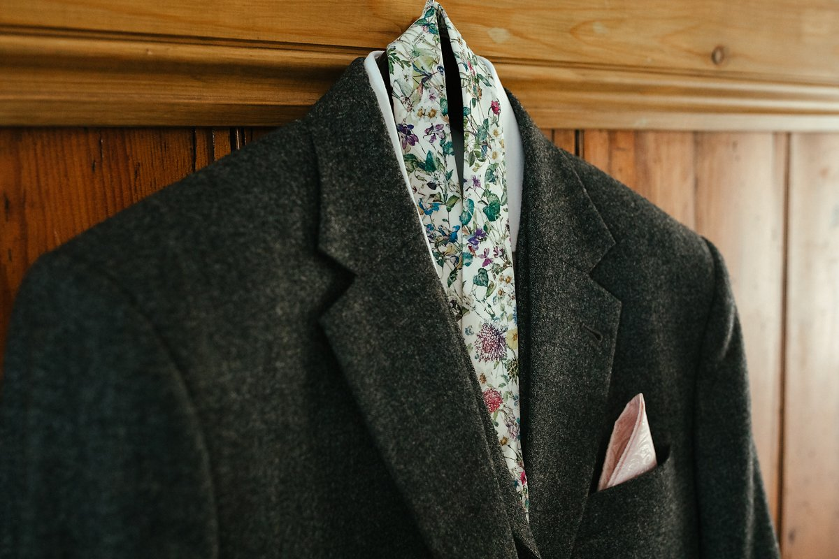 Floral tie for wedding day