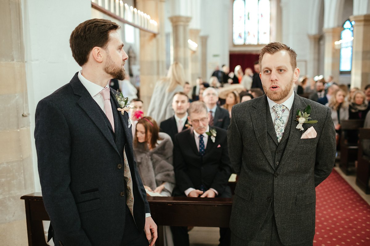 Groom waiting at St Mary's church in Old Amersham photo