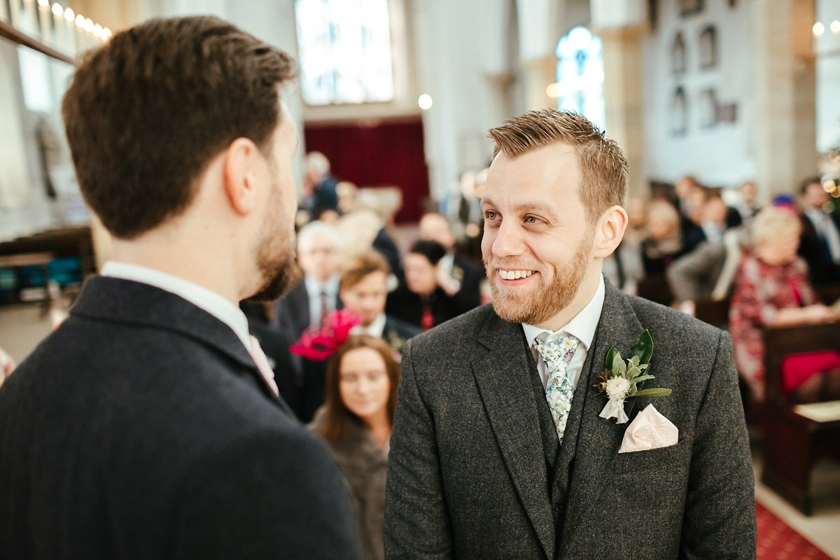 Groom waiting at St Mary's church in Old Amersham