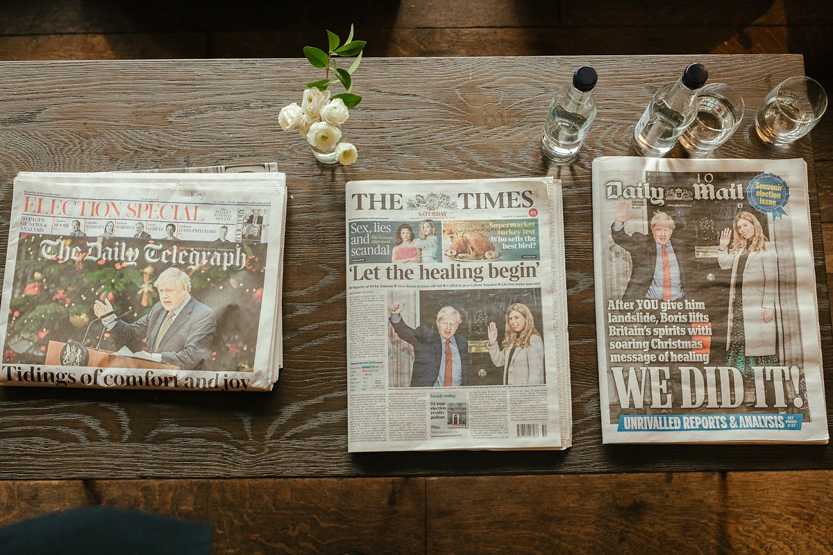 Wedding day newspapers