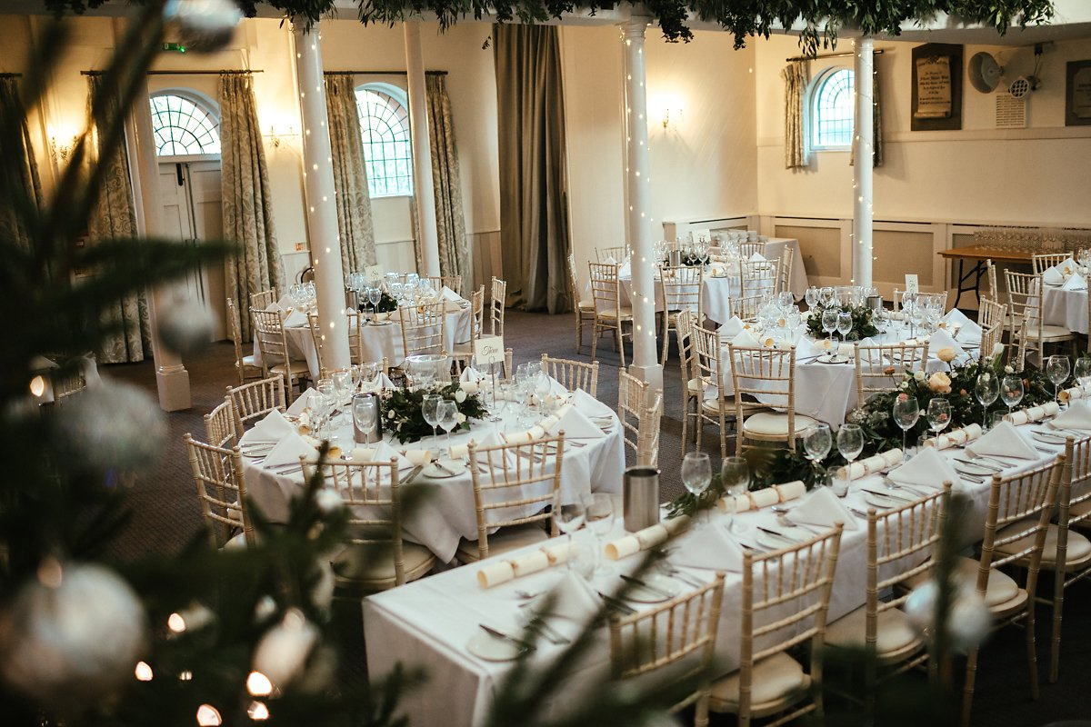 Kings Chapel winter wedding table decorations photo