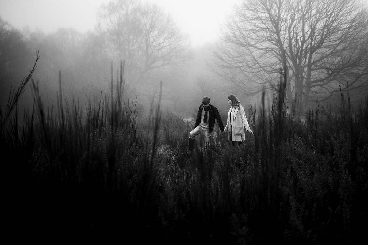 Foggy woodland pre-wedding photoshoot