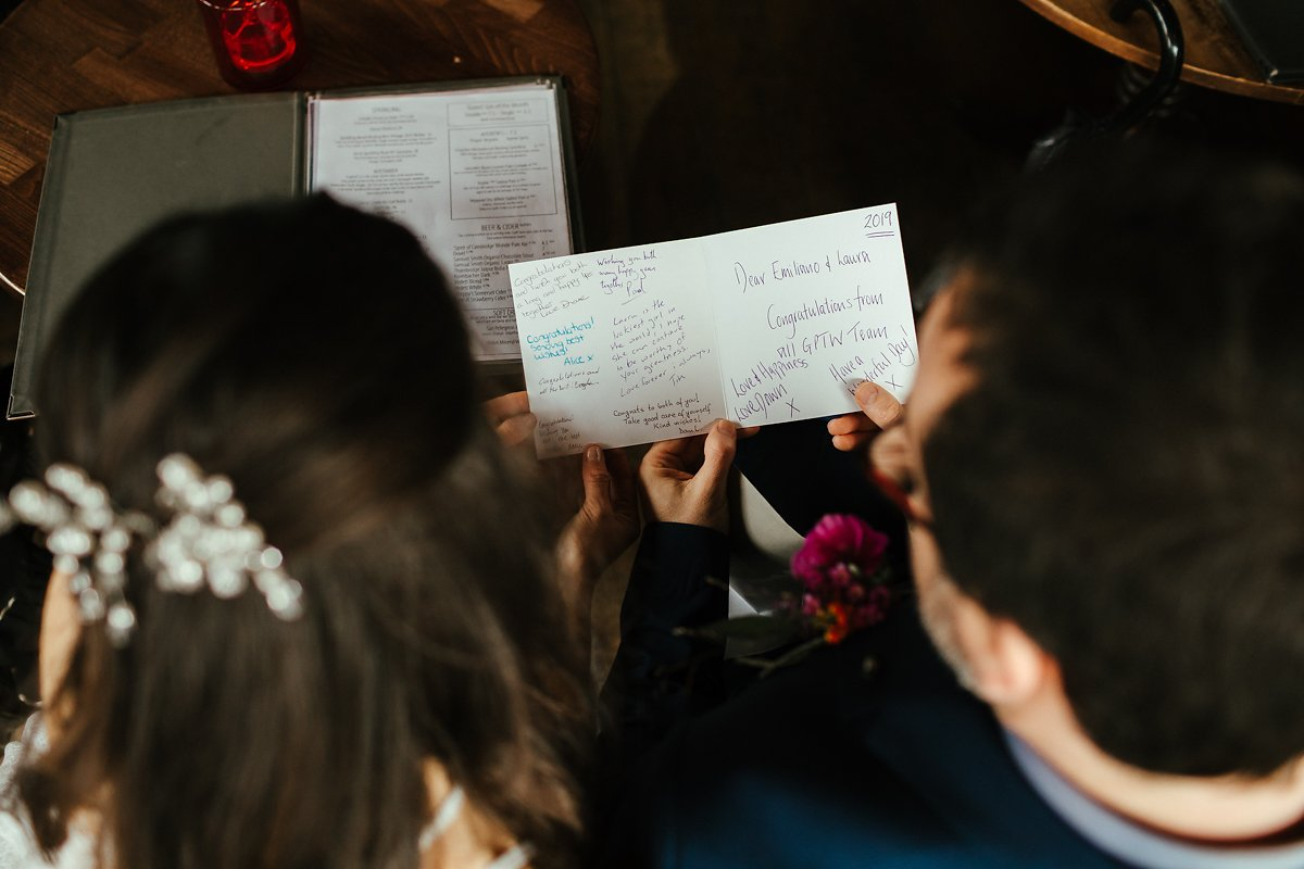 Cambridge Wine Bar wedding reception