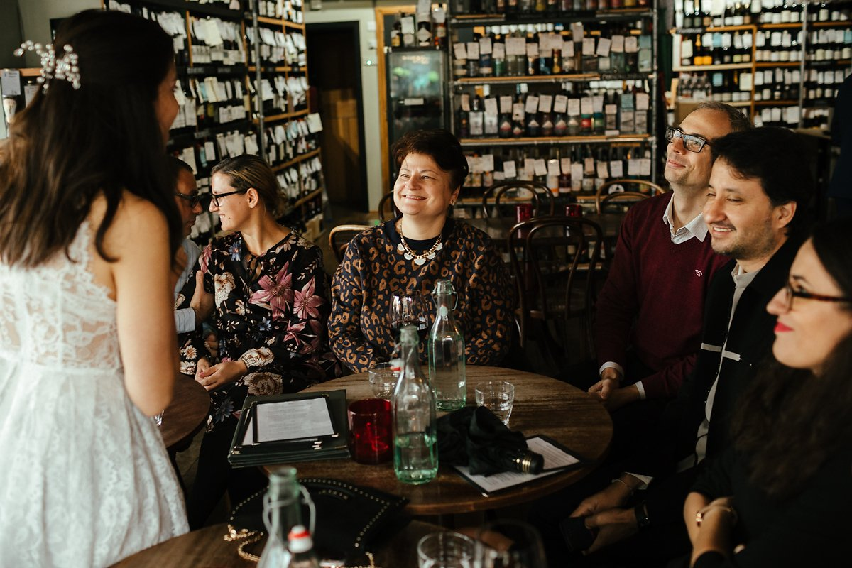 Cambridge Wine Bar wedding reception photos