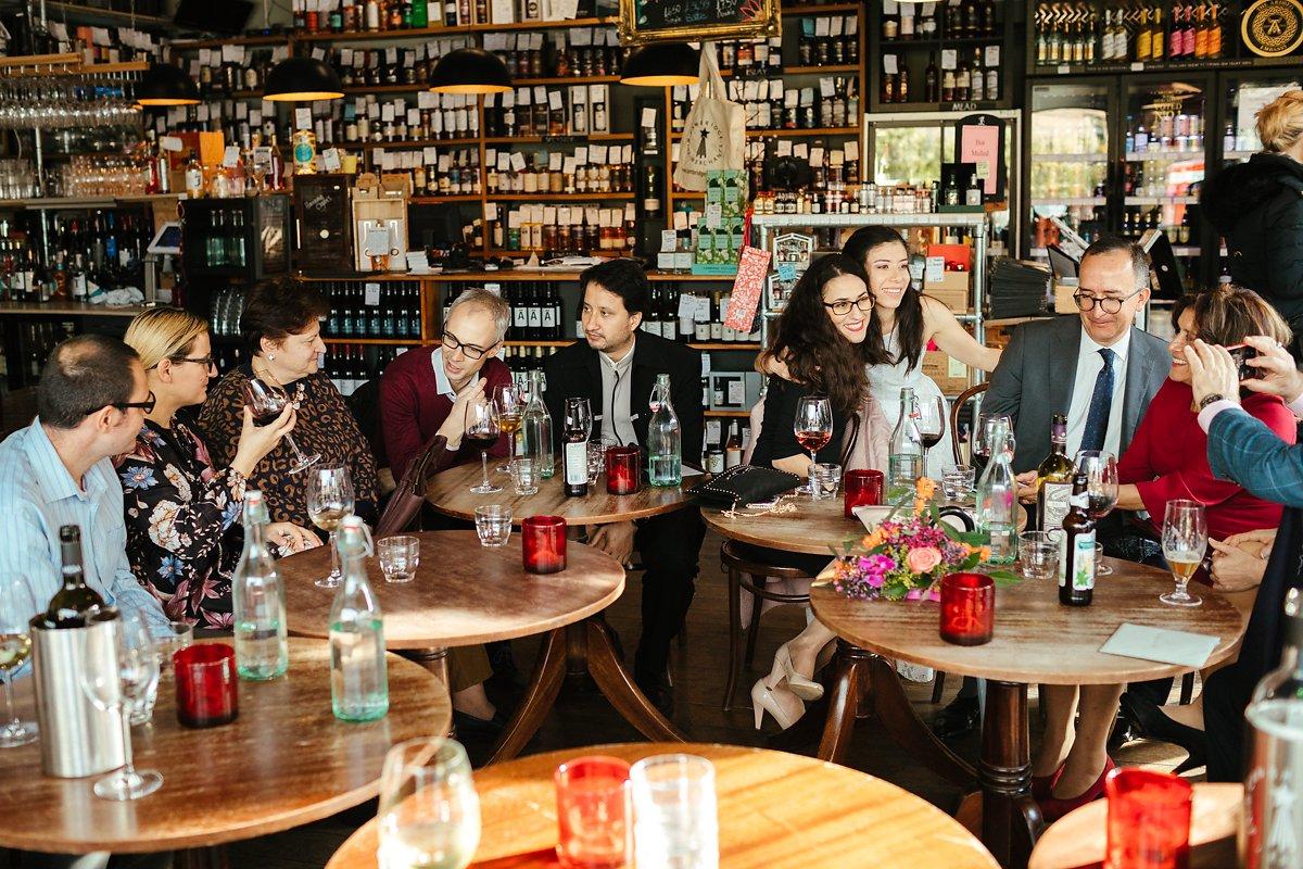 Wedding guests at Wine Bar