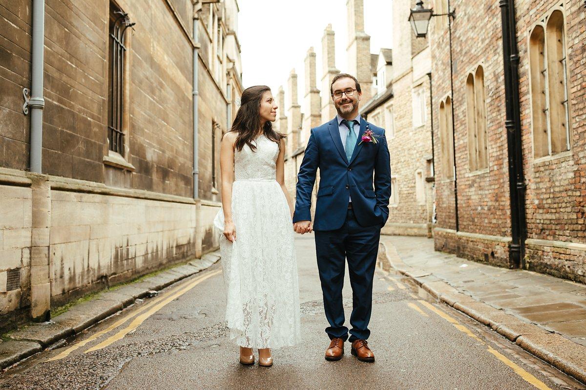 Wedding photos in Cambridge town centre