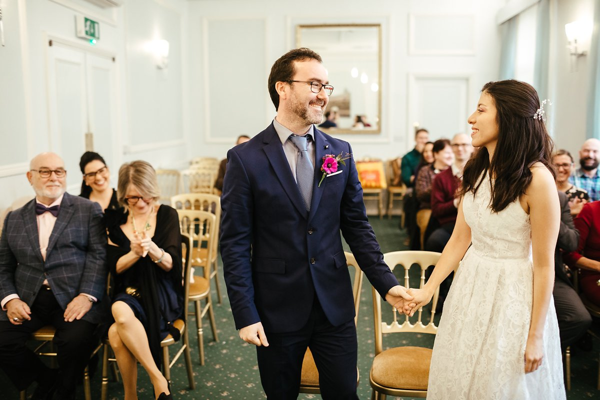 Intimate wedding ceremony at Cambridge Town Hall