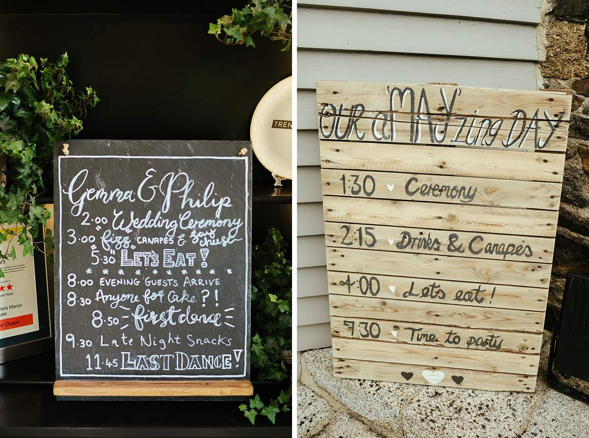 Simple Wedding Timetable Examples