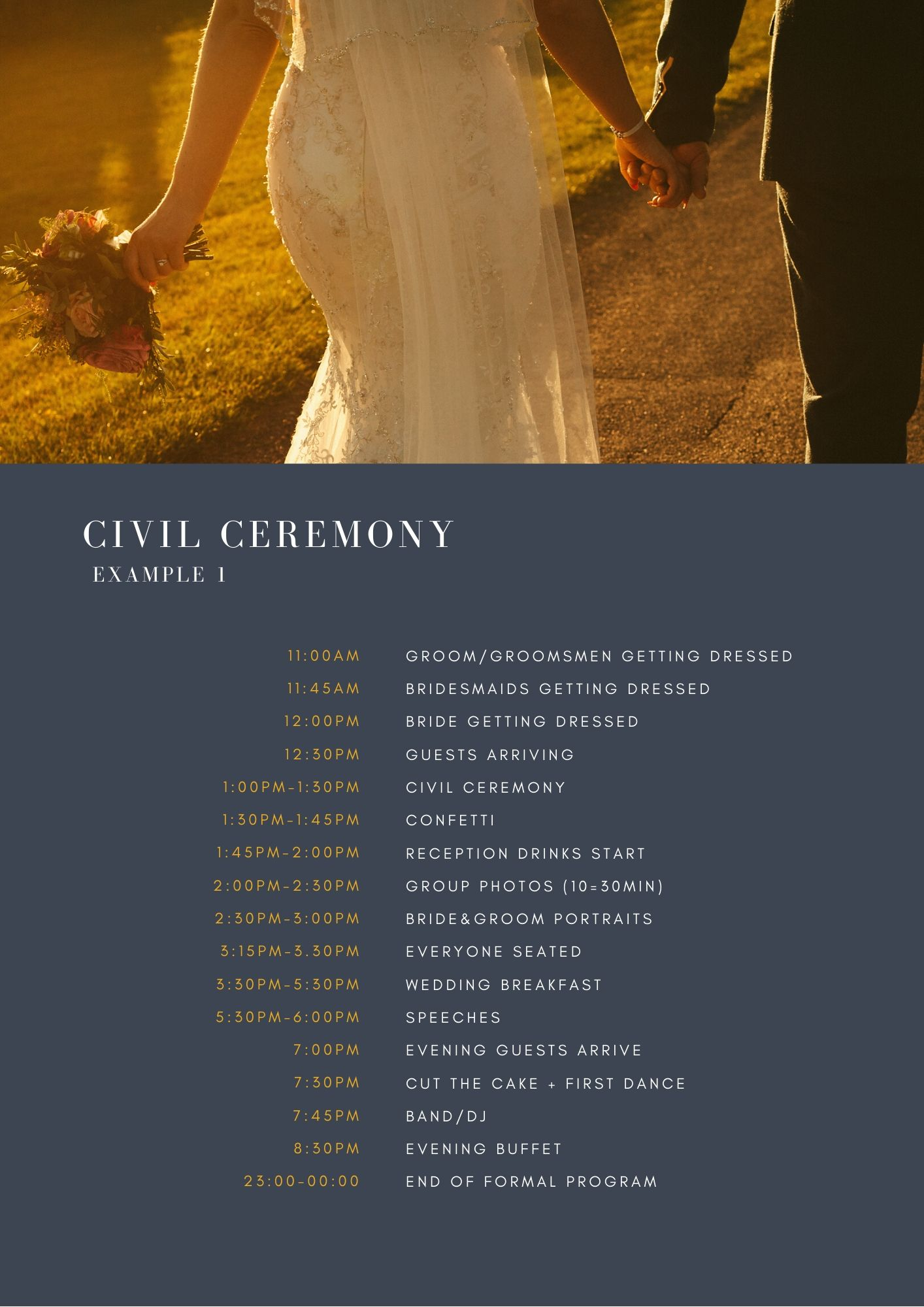 Simple Wedding Timetable Example