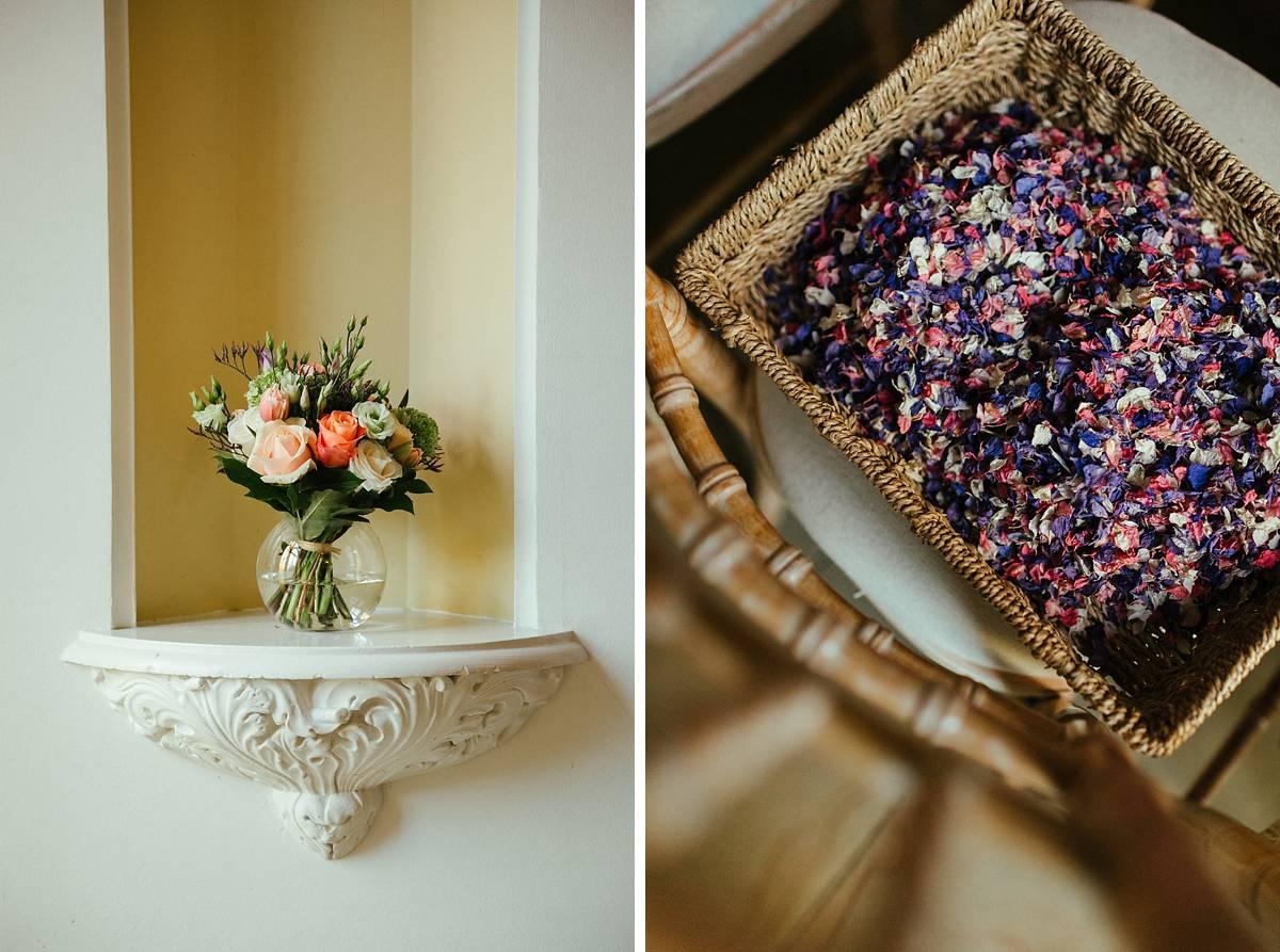 Multicoloured confetti and basket