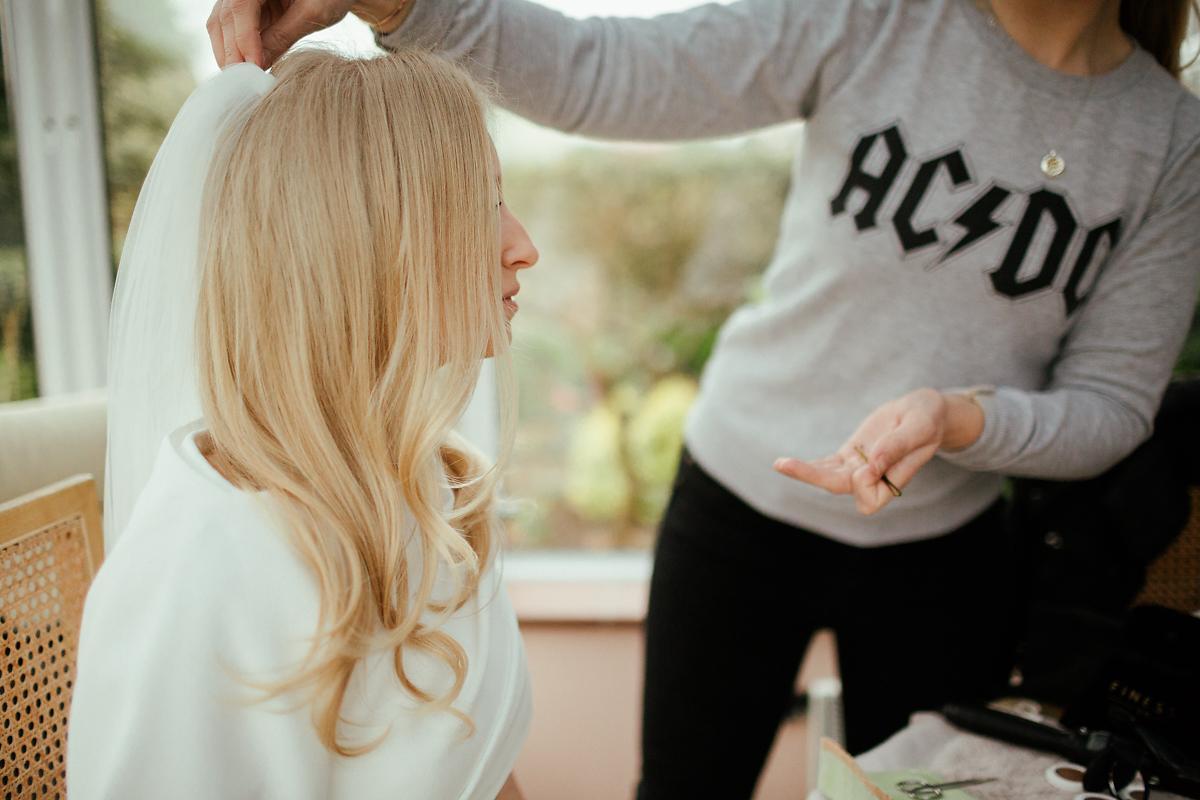 Vera Wang bride getting make up ready