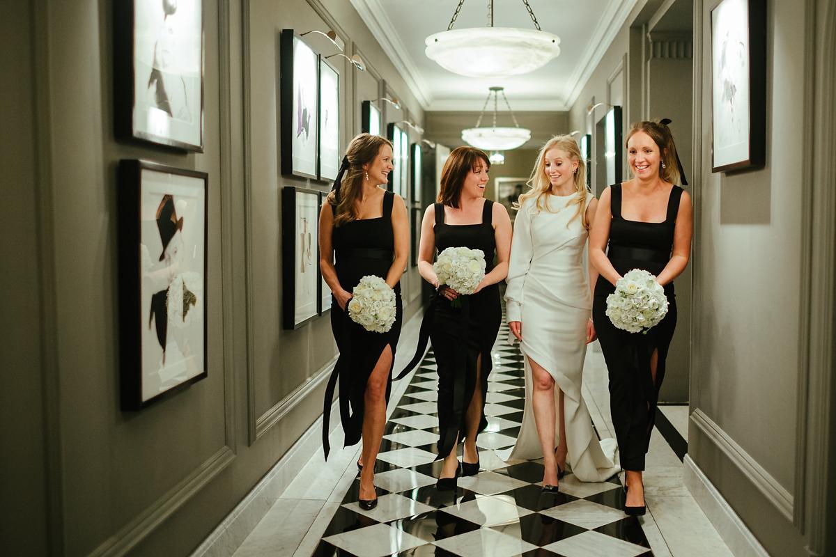 City of London bridesmaids in full length black dress