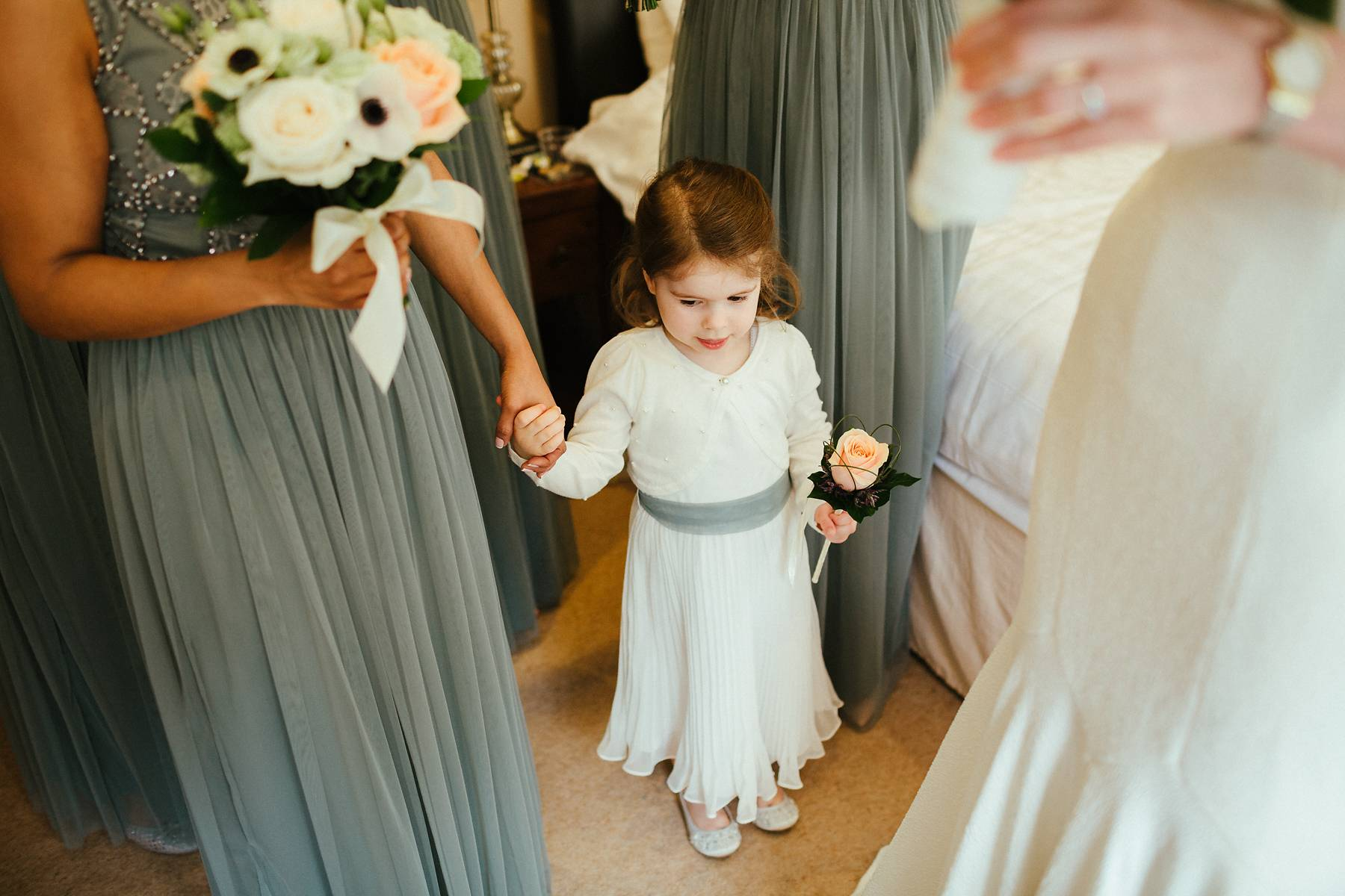 Hold hands with a nervous flower girl