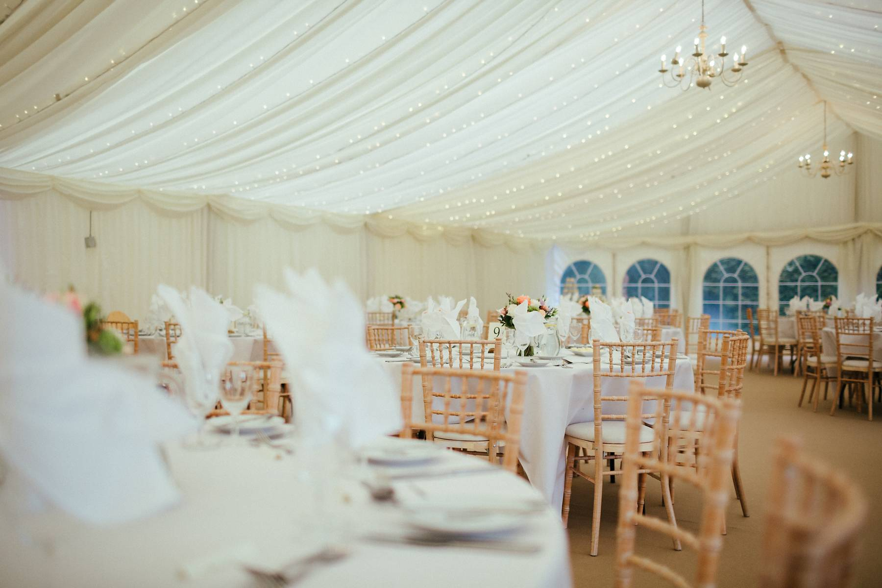 Pink and white wedding decorations at Missenden Abbey